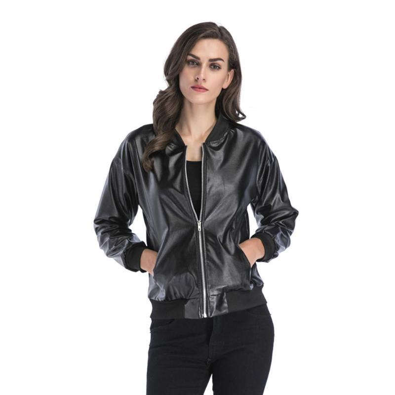 2018 New Women Autumn Winter Punk Women PU Leather Zipper Stand Collar Outwear Coats Jackets Motorcycle Cool Coat Hot Sale