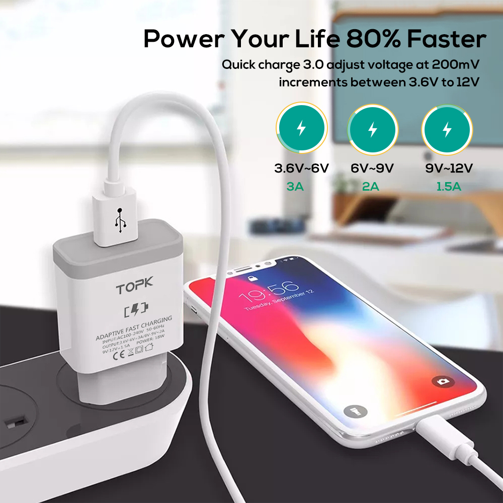 Image 3 - TOPK B126Q 18W Quick Charge 3.0 Fast Mobile Phone Charger EU Plug Wall USB Charger Adapter for iPhone Samsung Xiaomi Huawei-in Mobile Phone Chargers from Cellphones & Telecommunications