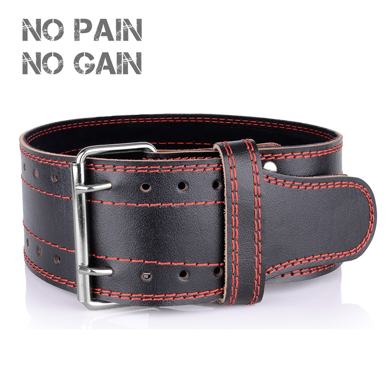 NO PAIN NO GAIN Weightlifting Belt Two Cowhide Leather Protection Gym Fitness Training Squats Powerlifting Back Weight ECYD