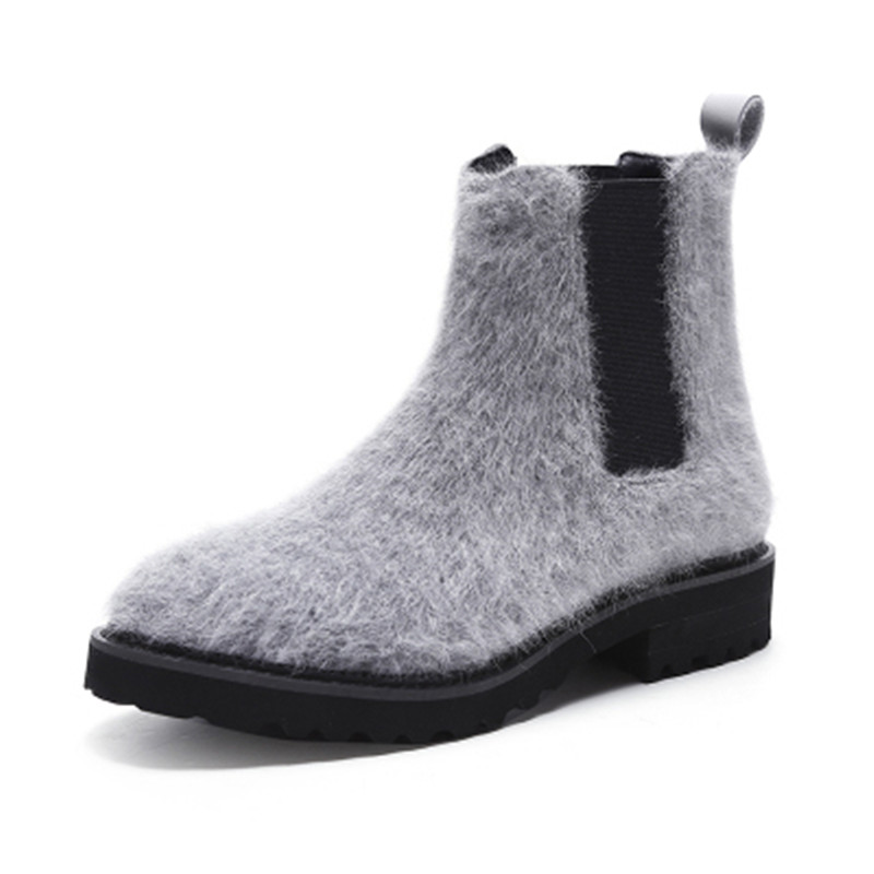 Autumn Winter Round Toe Fur Design Slip On Solid Women Boots Casual Street Snap Platform Shoes Martain Ankle Leisure Boots Mujer lloprost ke faux fur ankle boots women casual shoes botas slip on platform low heel mujer winter autumn boots big size zz041