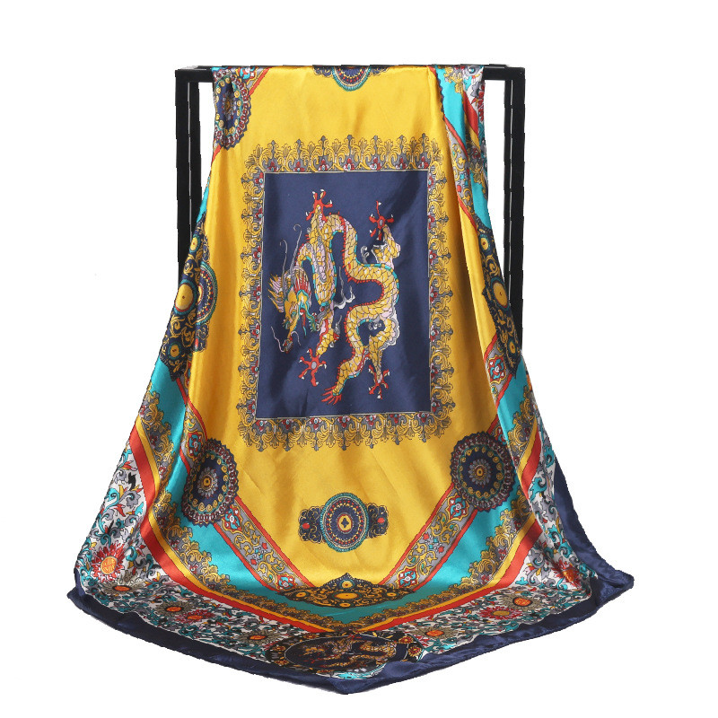 POBING Women Silk   Scarf   China Dragon Print Square Head   Scarves     Wraps   Luxury Brand Female Foulard Satin Muslim Bandana Hijab 90CM