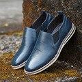 Envío gratis nuevo estilo de los hombres zapatos planos ocasionales respirables mocasines de cuero genuino de los hombres de estilo británico hombres de moda zapatos casuales