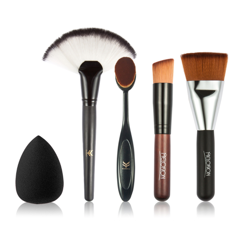 MELOISION 4pcs Makeup Brush Set Contouring Brushes Tool Large Fan Brush Blush With Make Up Sponge Puff Random color