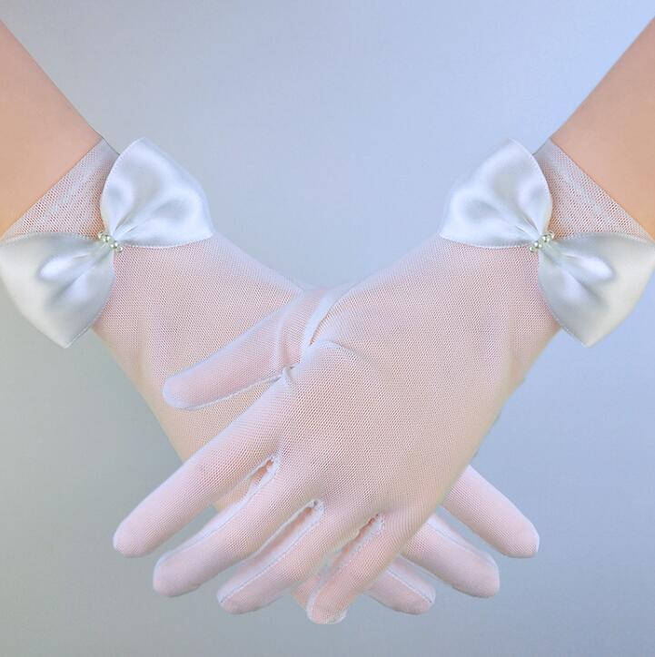 Women's Sexy Mesh Glove Female White Color Bow Glove R1579