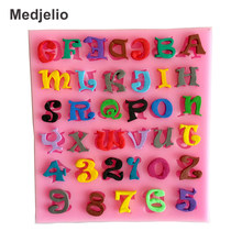 Medjelio English Letters Silicone Mold Digital Number Fondant Cake Decorating Tools Candy Chocolate Moulds DIY Baking Tools(China)