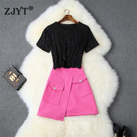 2019 Summer Clothes for Women Fashion Designer Short Sleeve Top and Mini Denim Skirt Suit Set Casual Female Outfits