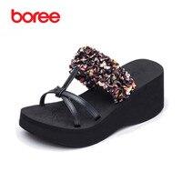 Boree Summer Women S Sandals Fashion Flip Flops Casual Shoes Leather Flower Platform Non Slip Thick