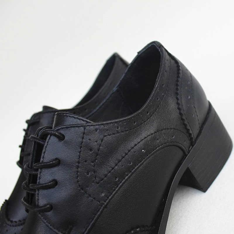 รองเท้าผู้หญิง Lace up รองเท้า Oxford รองเท้า 100% ของแท้หนังสุภาพสตรีรองเท้าแบน 2019 ฤดูใบไม้ผลิฤดูใบไม้ร่วงหญิงรองเท้า (w8133)