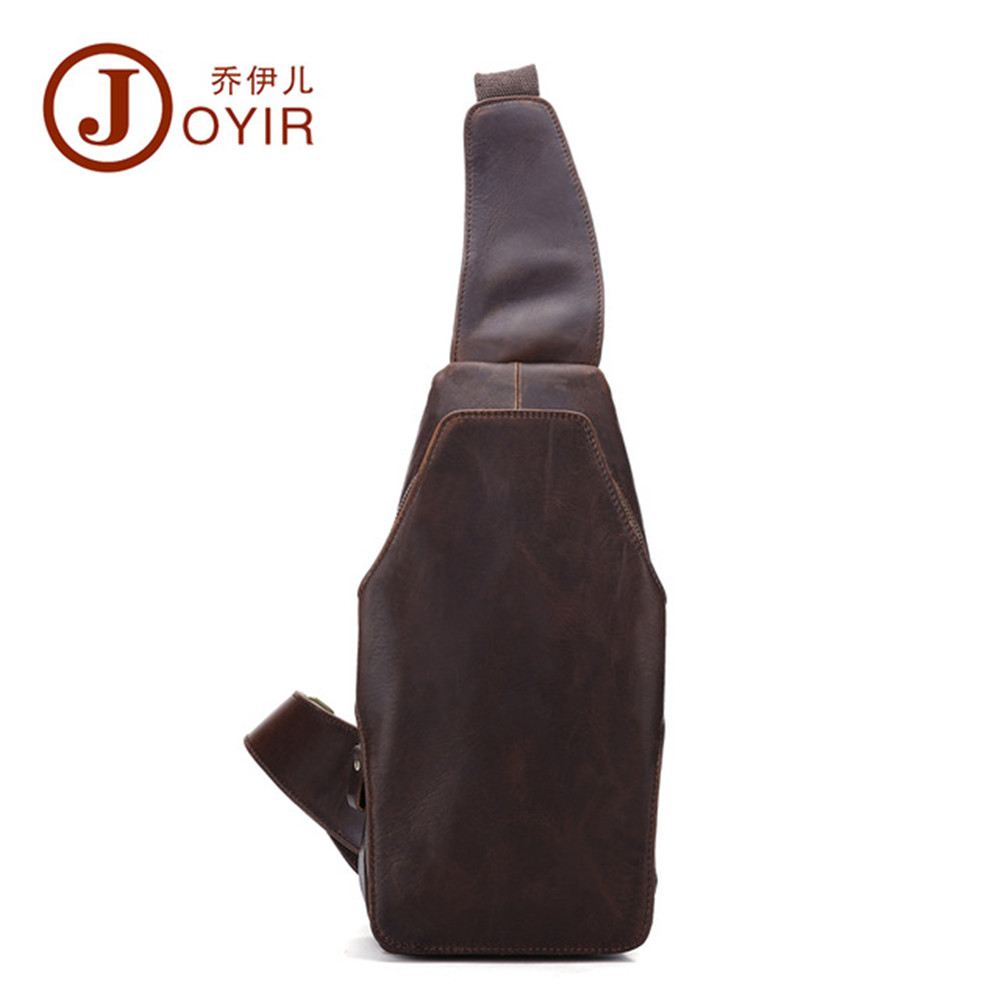 JOYIR 2017 nouveaux hommes en cuir véritable poitrine paquet rétro mode marque Crazy horse cuir hommes sac à bandoulière B571