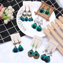 Sale 1Pair 2018 Exquisite High Quality Ethnic Natural Peacock Feather Drop Earrings Graceful Gifts