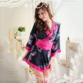 Nova marca Curto Robe Roupão Camisola para As Mulheres Kimono Sleepwear Flor de Cetim Rayon