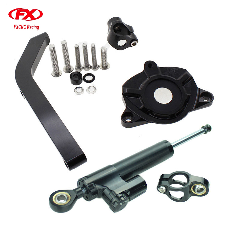 FXCNC Aluminum Motorcycles Steering Stabilize Damper Bracket Mount Kit For Kawasaki Z1000 2014-2016 2015 Moto Steering Support