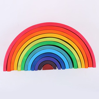 2019 Wooden Rainbow Toys For Kids Jenga Montessori Rainbow Blocks Children Toys Arcoiris Montessori Building Toys Wood Safety
