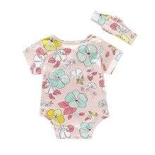 Summer Baby Girl Cute Flower Print Baby Dress Jumpsuit Romper Short Sleeve With Headband cute short sleeve pineapple print baby romper for kids