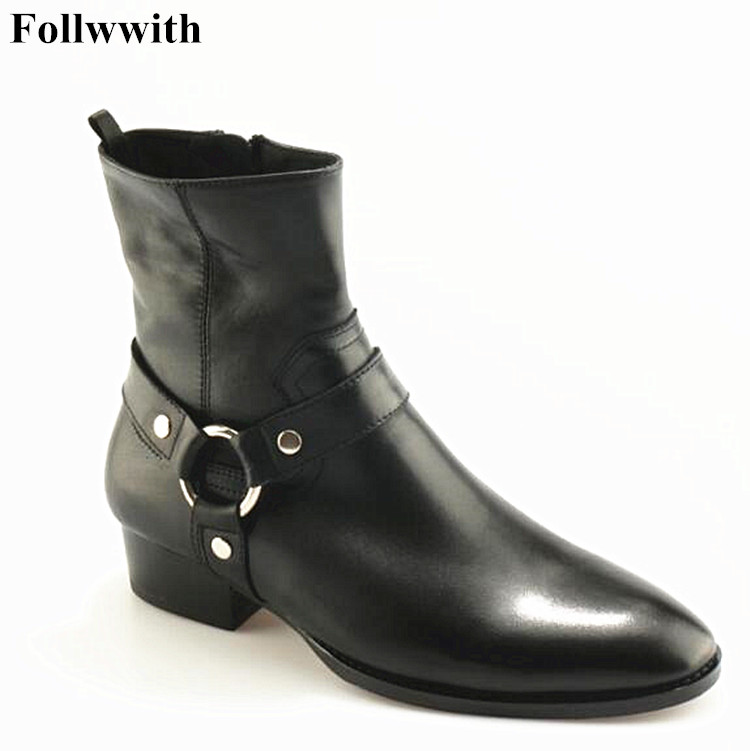 HOT Sale Men Ankle Boots Solid Chains Zip Fashion Boots Pointed Toe Wyatt Biker Flats Wholesales Men Shoes Stacked Heel Suede pu pointed toe flats with eyelet strap