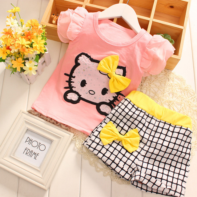 33b32e170 summer 2015 fashion girls clothing sets hello kitty short sleeve baby girl  clothes 6-24 Months cotton Baby T-shirts and shorts