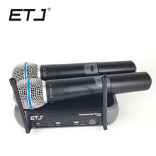 ETJ Brand PGX242 Professional Wireless Microphone 2 Transmitter Handheld Stage Performance Microphones