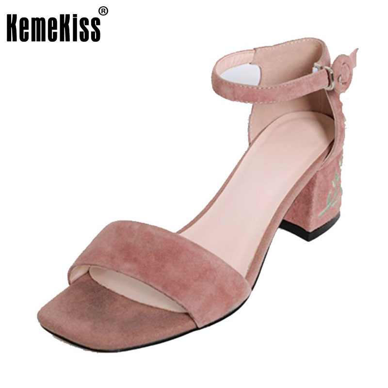 RizaBina Vintage Women Real Genuine Leather High Heel Sandals Flower Ankle Strap Thick Heel Sandals Wedding Shoes Size 34-39 rizabina sweety summer shoes women real leather thick high heel open toe sandals women buckle strap flower footwear size 34 39
