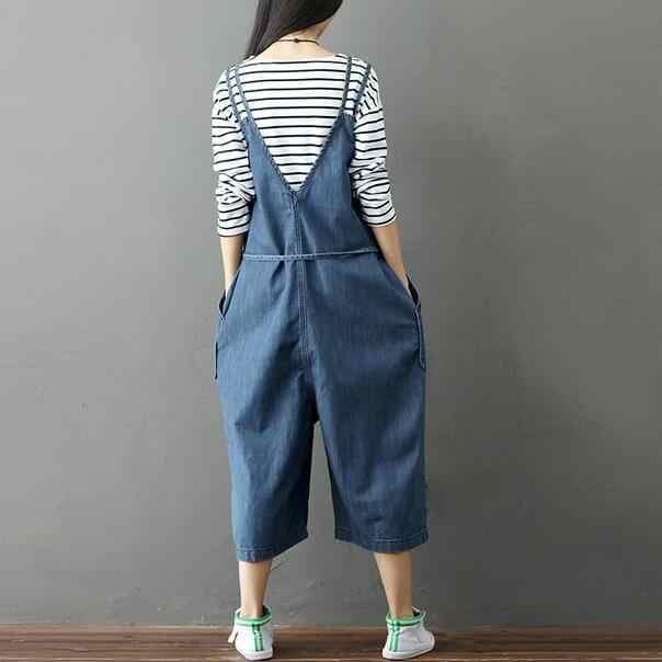Mori Girl/весенне-осенние женские джинсовые комбинезоны, свободные джинсы с высокой талией и широкими штанинами, однотонные женские комбинезоны DC701