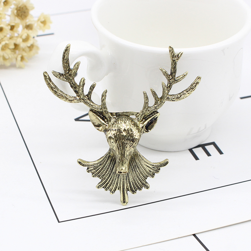 Vintage Angel Wings Deer Wolf Cat Brooch For Women Multiple Layers Chain Crown Skull Head Brooches Shirt Collar Pins Broches in Brooches from Jewelry Accessories