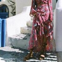 Autumn Women Skirt Bohemian Red Printed Long Skirts Fashion Holidayelegant Sand Beach Skirts