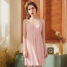 Roseheart Women Fashion Pink Sexy Sleepwear Nightdress Lace Bow Nightwear Sleepshirts Luxury Nightgown Female Court Gown