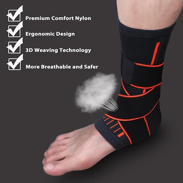 1 Pcs Pressurizable Bandage Ankle Support Protect Foot Basketball Football Badminton Anti Sprain Ankle Guard Warm Brace Nursing 1
