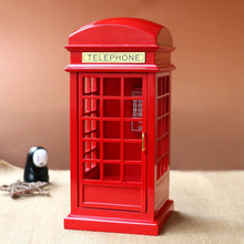 London Street Simulation Phone Booth Boxes Wooden Music Box Wood Crafts Retro Birthday Gift Vintage Home Decoration Accessories(China)