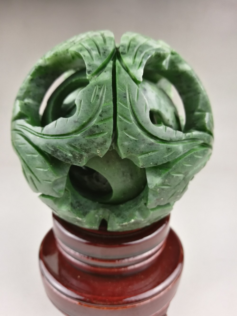 Chinese old green jade carved fengshui dragon ball magic with wood base Exquisite jade ball