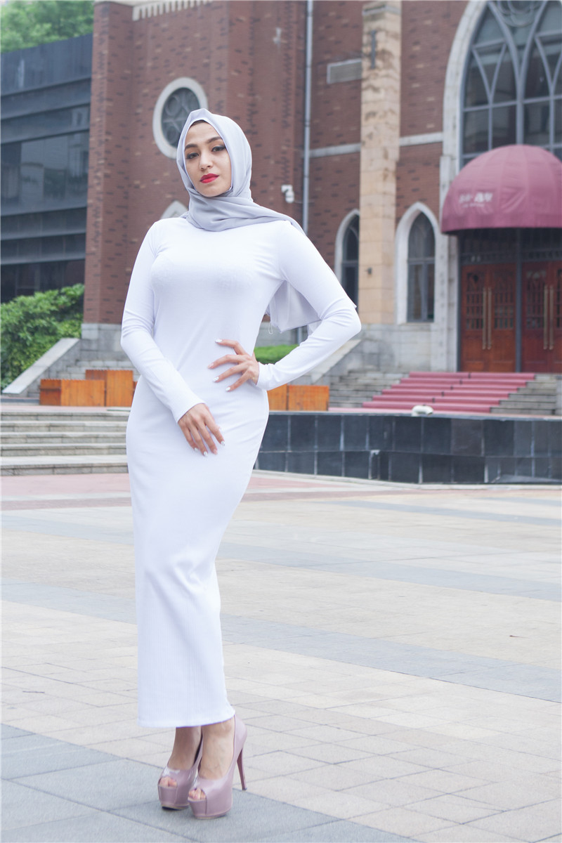 Women's Muslim Dress Arab Women Tight Ankel Abayas Arabic Dubai Turkish Kaftan Female Clothing