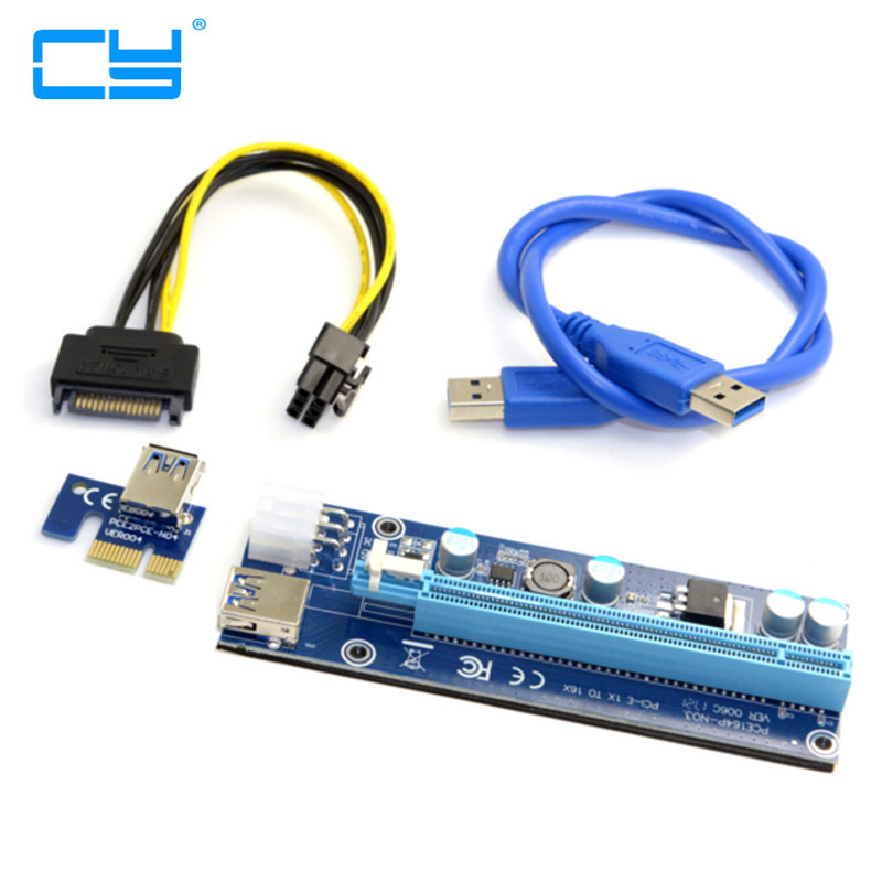USB 3.0 PCI-E Express 1X 4x 8x 16x Extender Riser Adapter Card SATA 15pin Male to 6pin Power Cable for BTC bitcoin Mining Device usb 3 0 pci e express 1x to 16x extender riser card adapter with 15pin to 4pin power sata cable for btc bitcoin mining device
