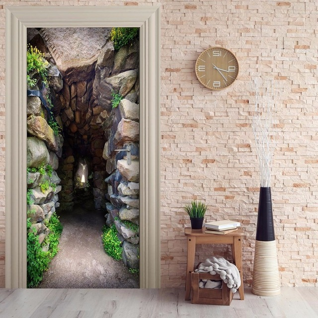 Free Shipping 3D Moutain Cave Door Wall Stickers DIY Mural Bedroom Home  Decor Poster PVC Waterproof