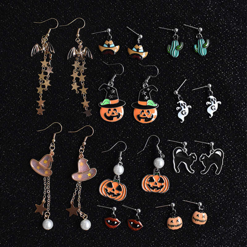 2019 Sale Arrival 1Pair 11 Models Pumpkin Pearl Seaside Drop Earring High Quality Funny Women Girls Halloween Allergy Free
