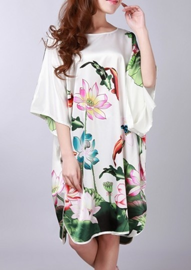 Hot Sale Blue Womens Soft Silk Sleepwear Fashion Printed Bathrobe Casual Home Wear Wholesale And Retail One Size