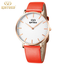 KINYUED Luxury Brand Womens Quartz Watch Genuine Leather Female Wristwatches White Face Fashion Casual Clocks Orologio Donna