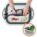 Складная разделочная доска  кухонная пластиковая силиконовая тарелка  Многофункциональная Корзина для мытья овощей и фруктов