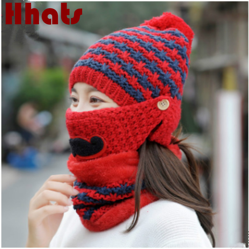 Thick Warm Mask Neck Warm Winter Hat For Women Cartoon Plus Velvet Knitted Cap With Face Neck Protection Female Pompom Beanie