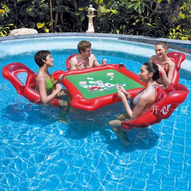 Inflatable Table Toy Pool Float Water Games Beach Party Large Mahjong  Floating Table For Hold With