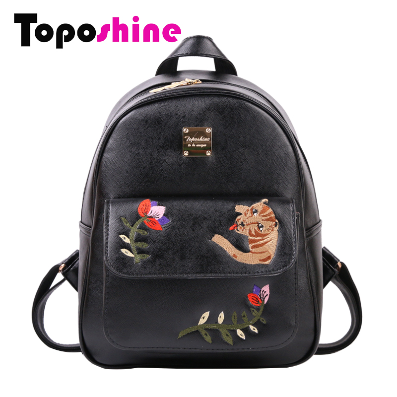 Toposhine Women Backpack 2017 Summer New Chinese Embroidery Backpacks Flowers Animal Bags Simple Fashion Female Backpack