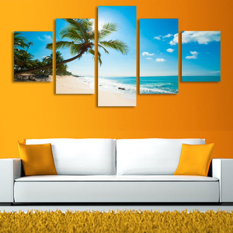 Canvas Painting 5 Panels Sunshine Beach Coconut Trees Picture Canvas Print Painting Artwork Wall Art Home Decoration Unframed