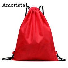 1054f124a9df Мешки Drawstring Для мужчин Для женщин карман Нейлон водонепроницаемые  школьников рюкзак для девочек Женский мешок сумка шнурок .