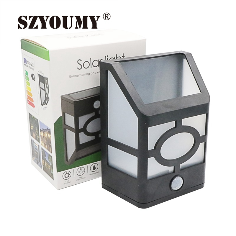 szyoumy retro solar powered motion sensor wall lamp light. Black Bedroom Furniture Sets. Home Design Ideas