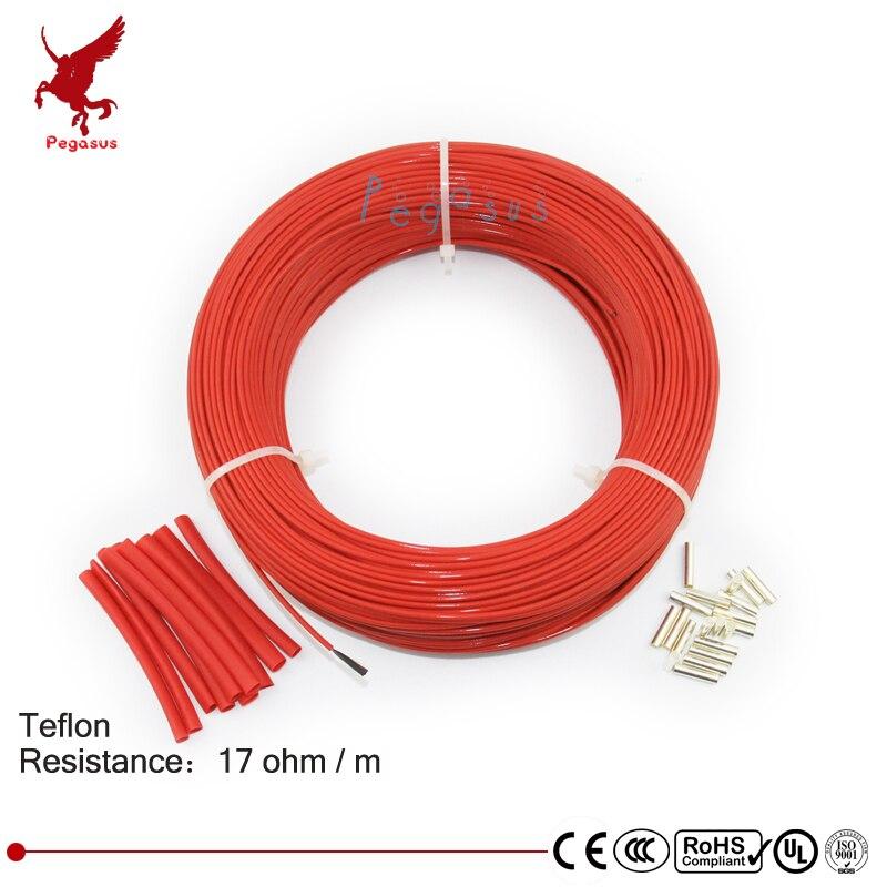 100 mètres 17ohm 24 K faible coût haute qualité téflon PTFE fiber de carbone fil chauffant câble chauffant système de chauffage par le sol infrarouge