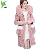 Boutique Women winter Faux sheep sheared Down fur coats Medium length Warm fur Outerwear Fur collar hooded Slim coats OKXGNZ1404