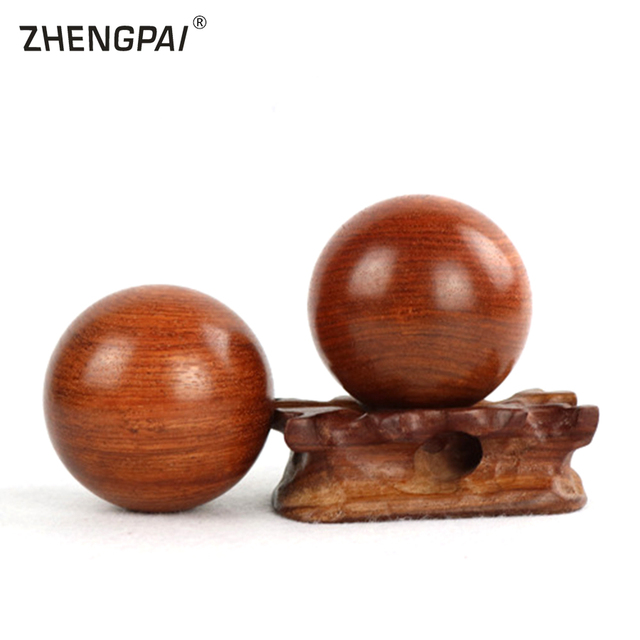 ZHENGPAI 6cm Wood Fitness Ball Gym Massage Ball Meditation Exercise Stress Relief Baoding Balls Relaxation Therapy Hand Grip*2