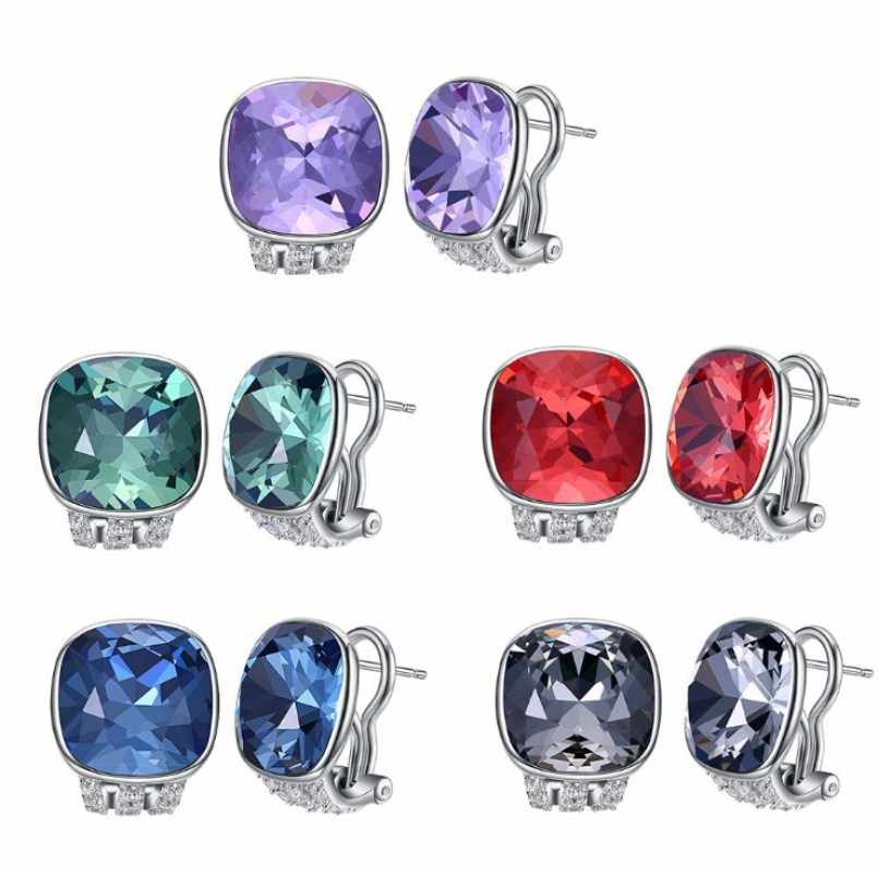 FOSIR 925 Sterling Silver Stadniny Kolczyki Naturalny Niebieski Zielony Czerwony Kryształ Kolczyki Trendy Zaręczyny Biżuteria Ślubna dla Kobiet