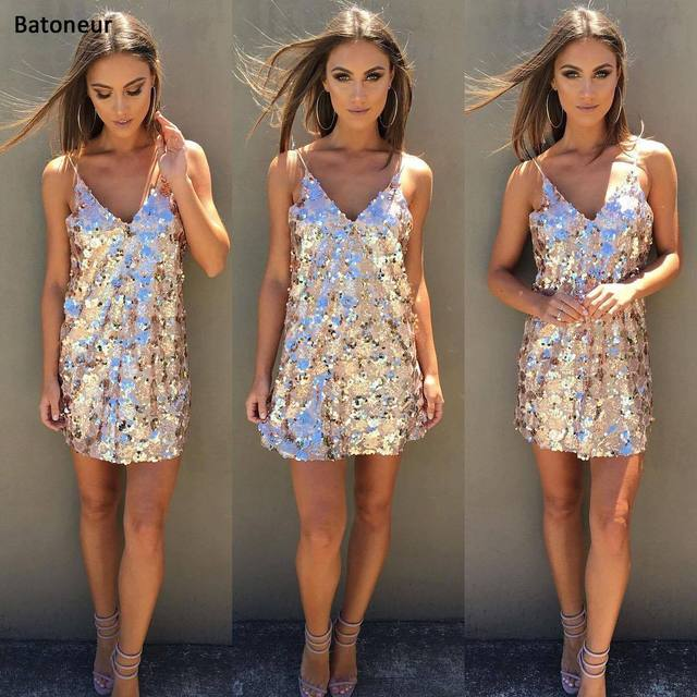 12e60bf61e9 gold Paillette Dress Sexy Women V Neck Sequins Bodycon Gold Dress Club  Cocktail Party Dresses Silver Paillette Vestidos