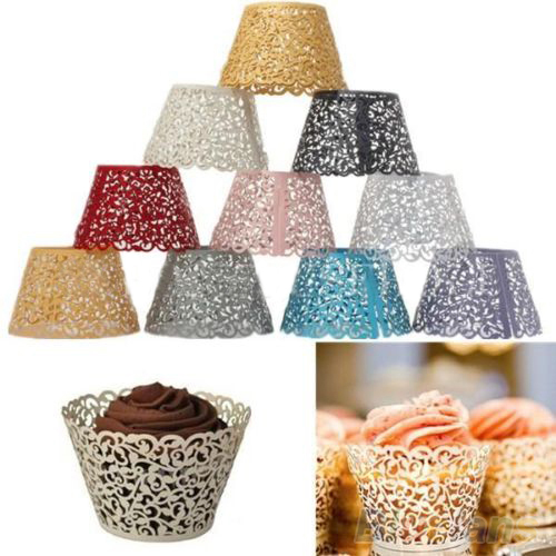 Image 2 - 12ocs/set Hollow Muffin Cupcake Paper Cups Wedding Birthday Baby Shower Filigree Vine Decor Wrapper Wraps Cupcake Cases-in Cake Molds from Home & Garden
