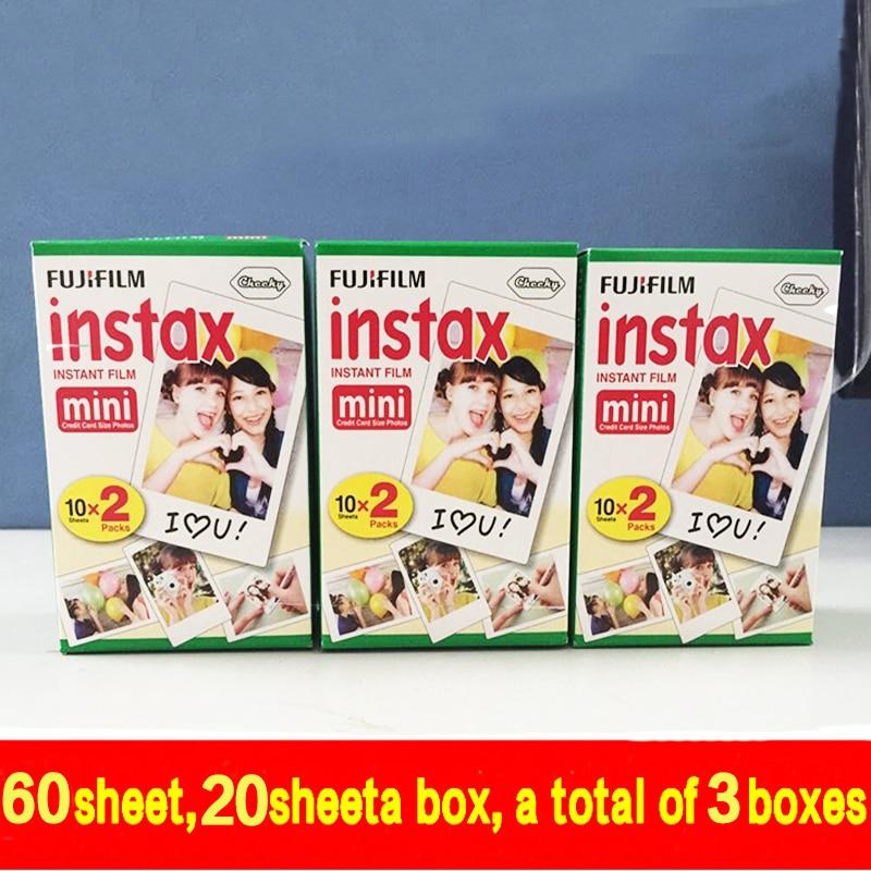 60 sheets Fujifilm Instax Mini film for Instant Camera mini 8 7s 25 50s 90 White Edge 3 inch film Photo Pape free shipping