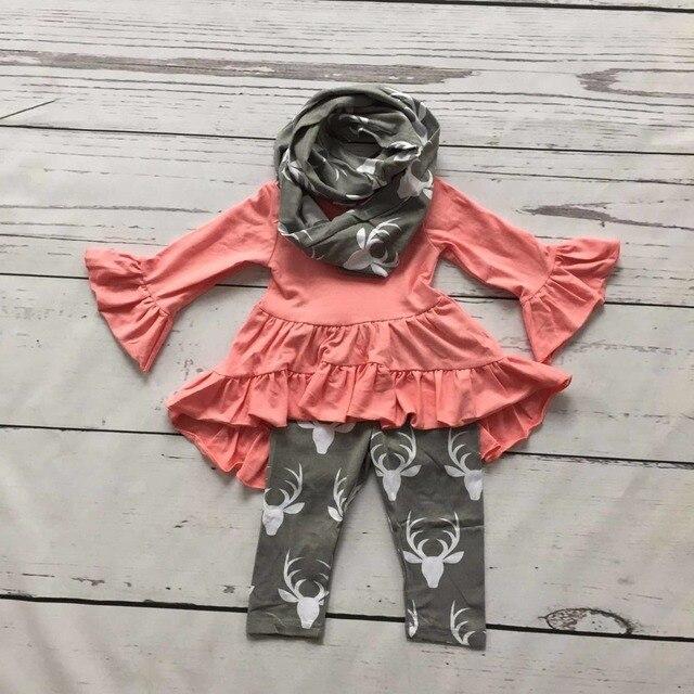 2016 ОСЕНЬ/Зима шарф набор детей хлопка костюм ребенка оленей детские девушки 3 шт серый оборками печати брюки бутик одежда для детей